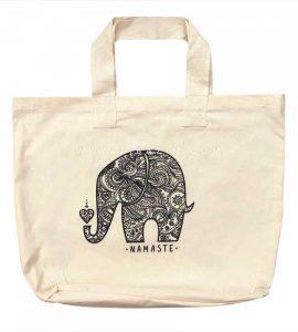 ساک دستی پارچه ای الياف طبيعی طرح : فیل