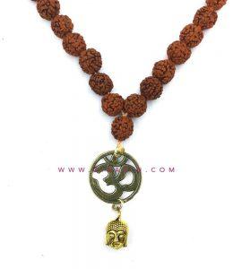 آویز رودراکشا طرح اوم و بودا : کد 4