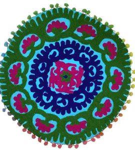 کاور کوسن دست دوز سوزنی هندی گرد طرح شقايق : زمينه آبی