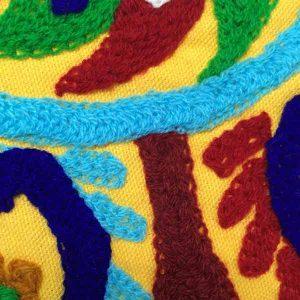 کاور کوسن دست دوز سوزنی هندی طرح خورشيد : زمينه زرد