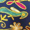کاور کوسن دست دوز هوناری هندی طرح فيل و طاووس : زمينه سرمه ای