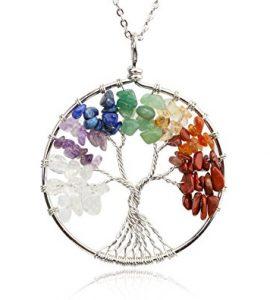 آویز دستساز فلزی هفت چاکرا طرح : درخت زندگی