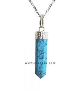 آویز منشوری کوچک سنگ هولیت آبی : رکاب نقره ای