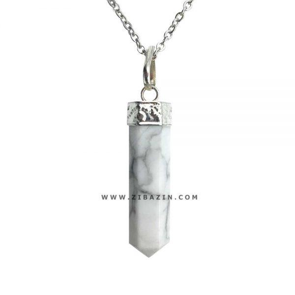 آویز منشوری کوچک سنگ هولیت : رکاب نقره ای