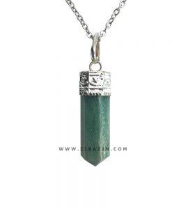 آویز منشوری کوچک سنگ آونتورین سبز : رکاب نقره ای
