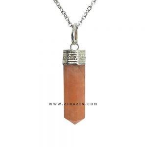 آویز منشوری کوچک سنگ آونتورین نارنجی : رکاب نقره ای
