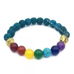 دستبند سنگ لاوا سبزآبی و هفت چاکرا : بودا طلایی