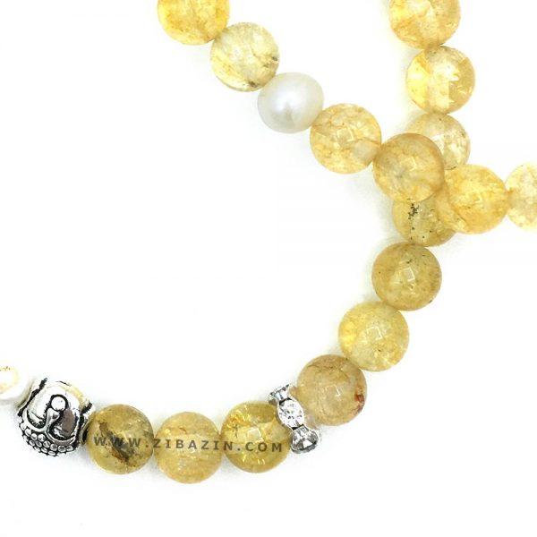 دستبند دوبل سنگ سیترین و مروارید : طرح بودا