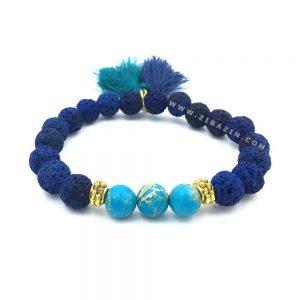 دستبند سنگ لاوا آبی و فیروزه : حلقه طلایی