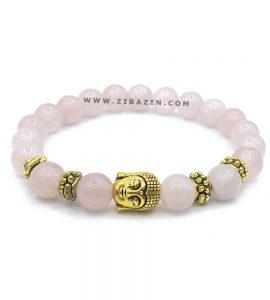 دستبند سنگ رزکوارتز طرح : بودا طلایی