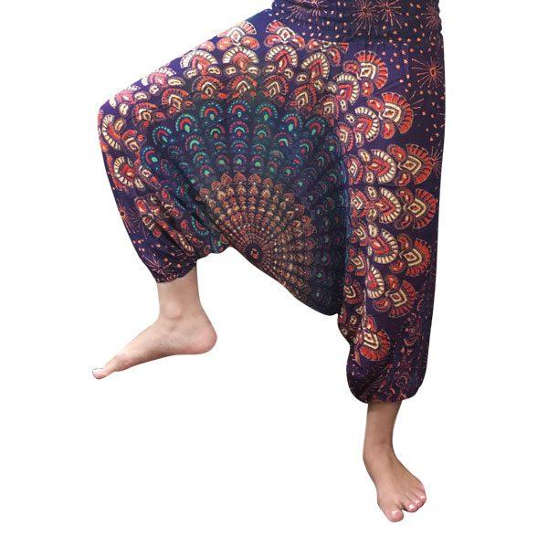 شلوار هیپی یوگا فاق بلند طرح پر طاووس : بنفش