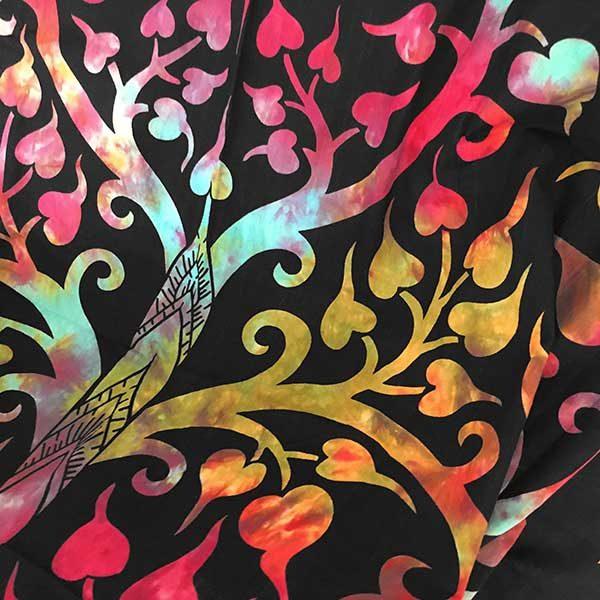دیوار آویز (بکدراپ) و روتختی گرد طرح فیل و درخت زندگی : مولتی کالر