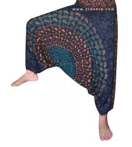شلوار هیپی یوگا فاق بلند طرح پر طاووس : سرمه ای