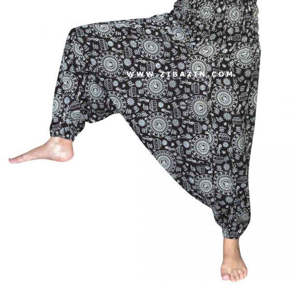 شلوار هیپی یوگا فاق بلند طرح دایره ای : مشکی