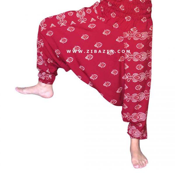 شلوار هیپی یوگا فاق بلند طرح غنچه (2) : قرمز