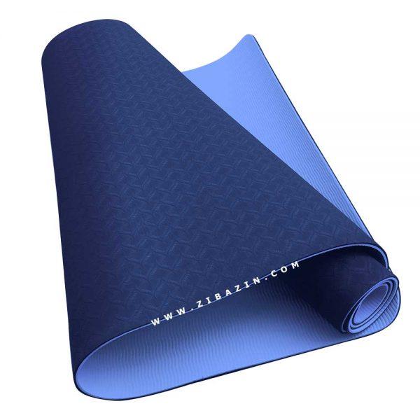 مت یوگا و پیلاتس (TPE) دو لایه ۵ میل : آبی