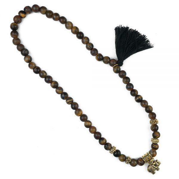 دستبند سنگی دو دور چشم ببر و حلقه طلایی طرح : فیل طلایی