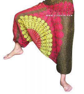 شلوار هیپی یوگا فاق بلند هندی طرح پر طاووس : یشمی