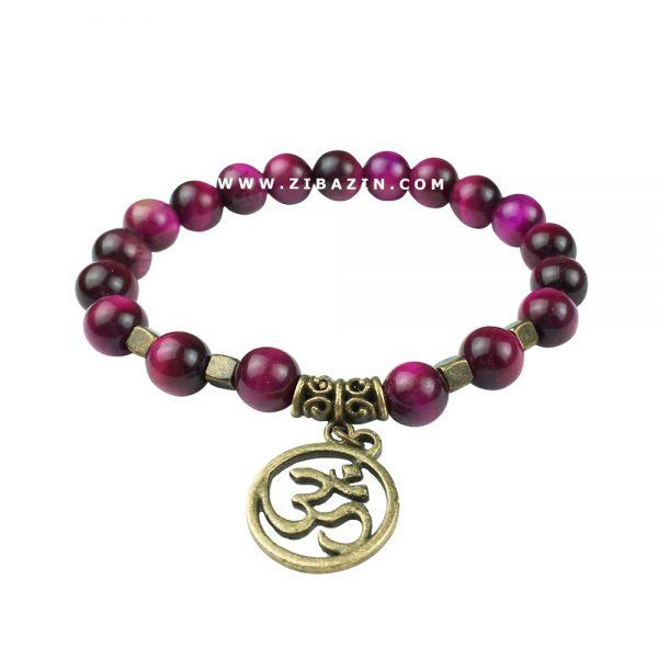 دستبند سنگی چشم ببر صورتی طرح : بودا