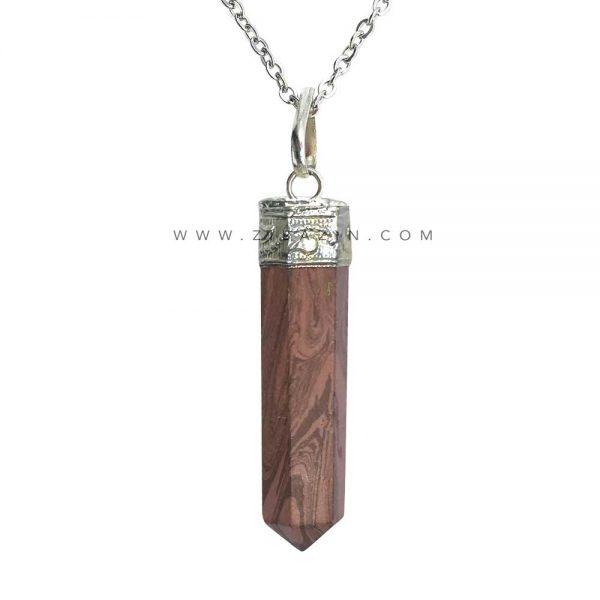 آویز منشوری کوچک سنگ مالاکیت قهوه ای : رکاب نقره ای
