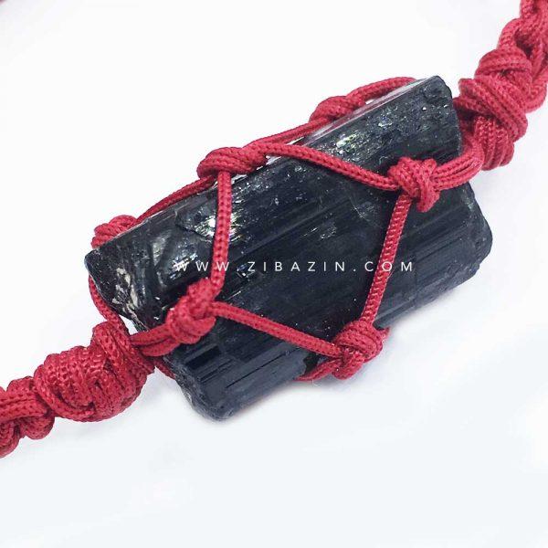 دستبند دستساز راف سنگ تورمالین : بند قرمز