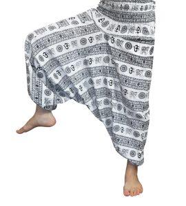 شلوار هیپی یوگا فاق بلند طرح اوم ( OM ) : سفید