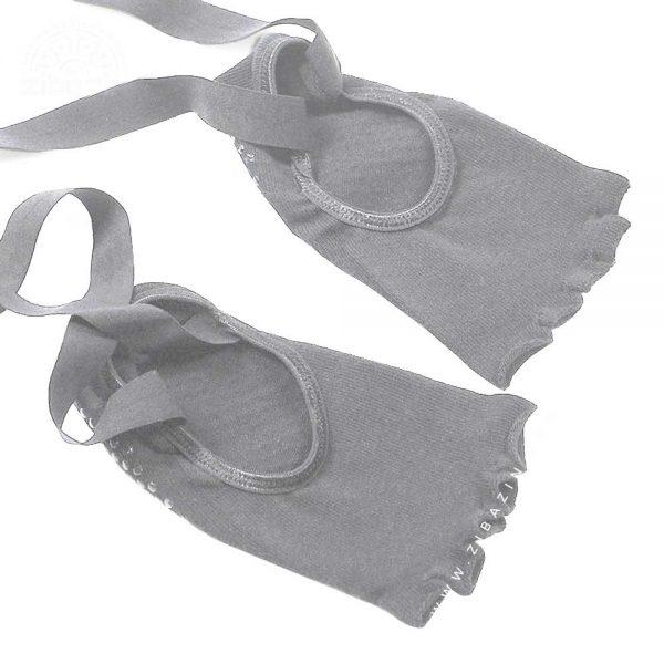جوراب یوگا و پیلاتس ضد لغزش روباز ساق دار : طوسی
