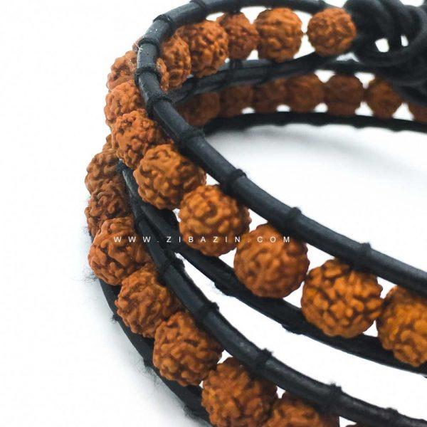 دستبند بند چرمی و رودراکشا