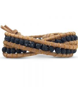 دستبند بند چرمی و سنگ لاوا