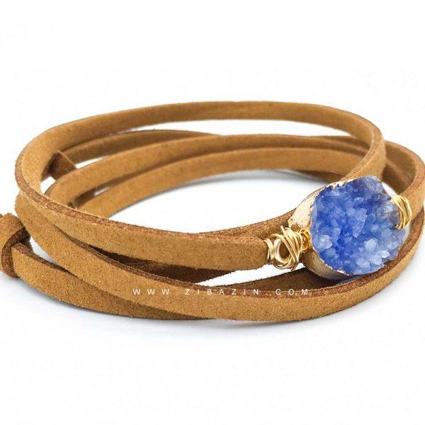 دستبند چند دور بند چرمی کوارتز رنگی : کد ۱