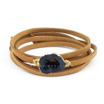 دستبند چند دور بند چرمی کوارتز رنگی : کد ۲