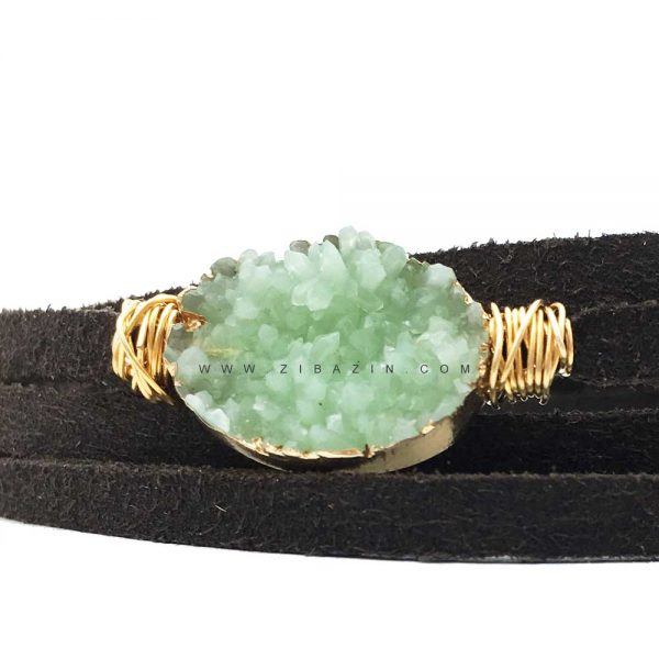 دستبند چند دور بند چرمی کوارتز رنگی : کد ۳