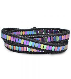 دستبند بند چرمی و سنگ حدید هفت رنگ