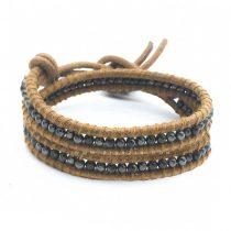 دستبند بند چرمی و سنگ حدید