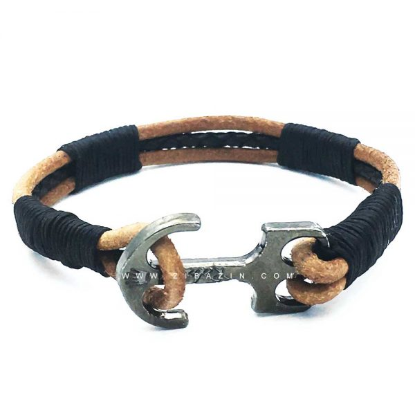 دستبند بند چرمی طرح لنگر