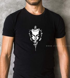 تیشرت نخی مردانه مشکی : طرح بودا