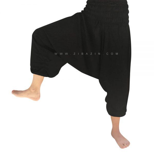 شلوار هیپی یوگا فاق بلند : مشکی ساق کوتاه