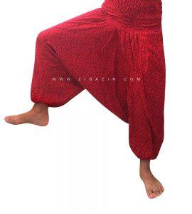 شلوار هیپی یوگا فاق بلند طرح بته جقه : قرمز