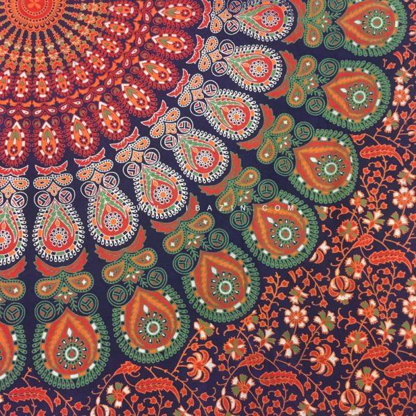 دیوار آویز (بکدراپ) و روتختی تکنفره ماندالا پر طاووس : کد ۱۰۷